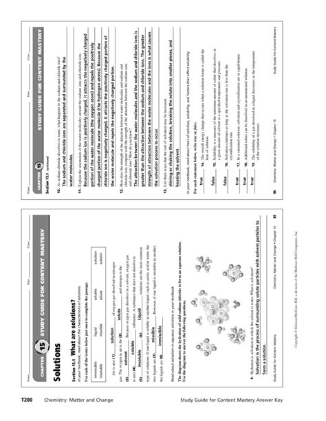 Solutions Study Guide Content Mastery Answer Key