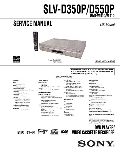 Sony Slv D350p D550p Dvd Vcr Service Manual Download
