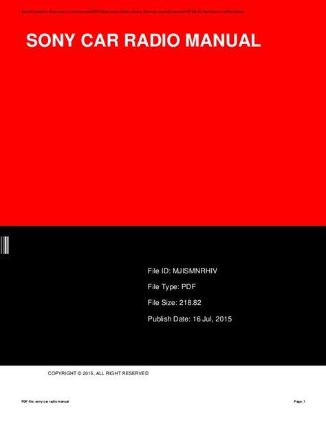 Sony Car Radio Manual