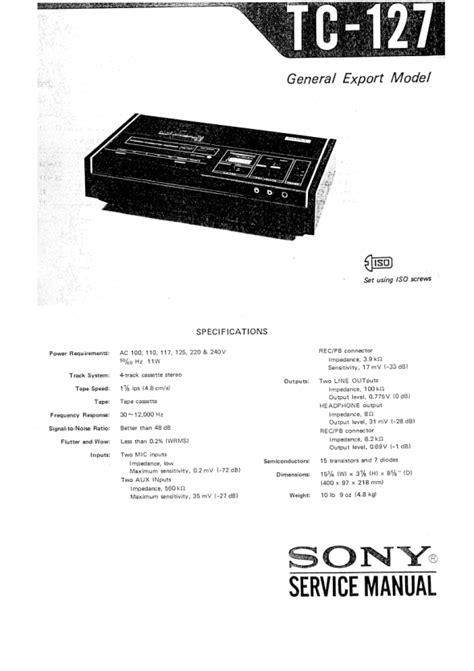 Sony Equipment Manual