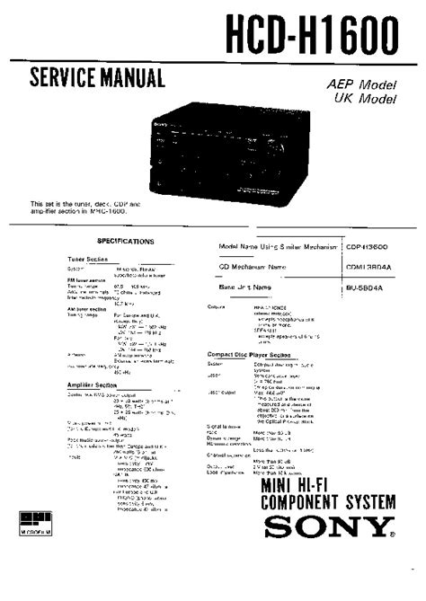 Sony Fh B5cd Compact Hi Density Component System Parts List Manual