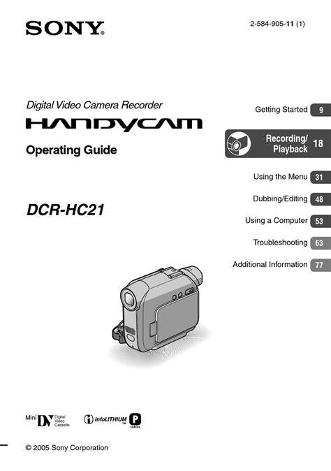 Sony Hc 9 Manual