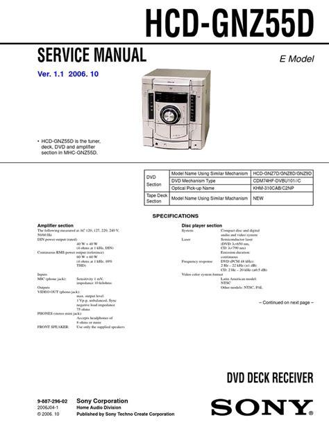 Sony Hcd Gnz55d Dvd Deck Receiver Service Manual