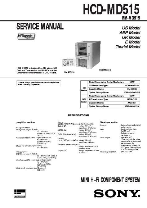 Sony Hcd Md515 Mini Hi Fi Component System Service Manual