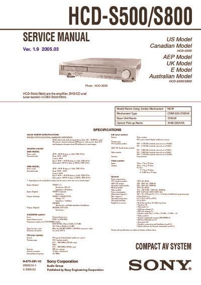 Sony Hcd S500 S800 Ver 18 Compact Av System Service Manual