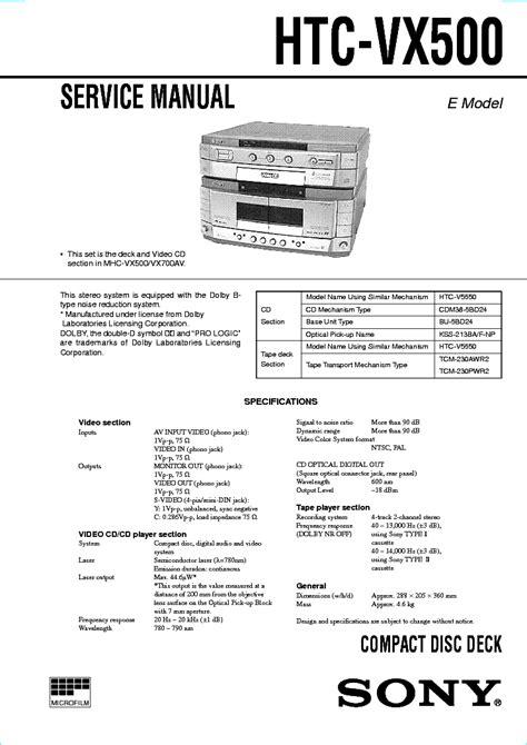 Sony Htc Vx500 Cd Deck Service Manual