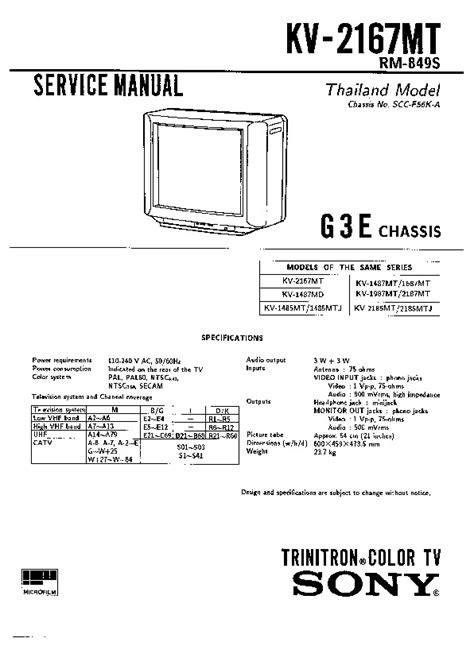 Sony Kv 29f3 Tv Service Manual