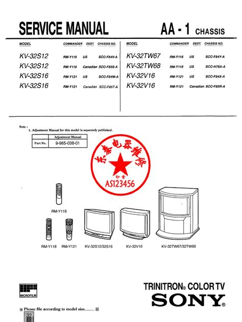 Sony Kv 32s12kv 32s16 Trinitron Tv Service Manual