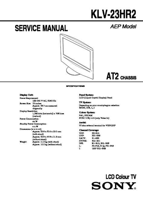 Sony Lcd Tv Klv 23hr2 Service Manual