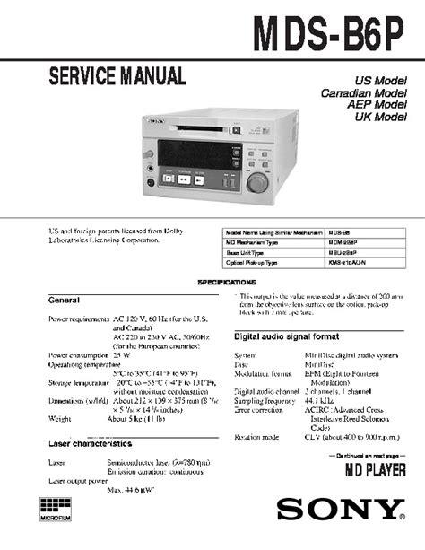 Sony Mds B6p Service Manual
