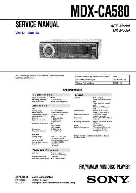 Sony Mdx Ca580 Workshop Repair Manual