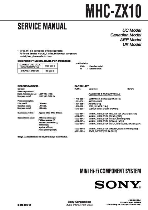 Sony Mhc Zx10 Mini Hi Fi Component System Parts List Manual