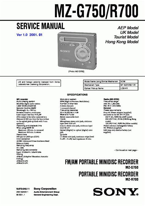Sony Mz G750 Service Manual