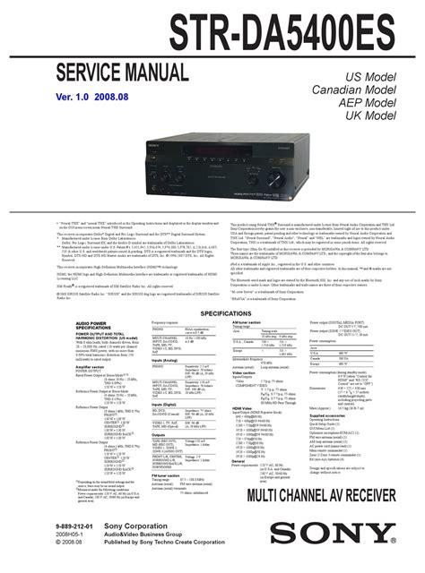 Sony Str Da5400es V10 Service Manual