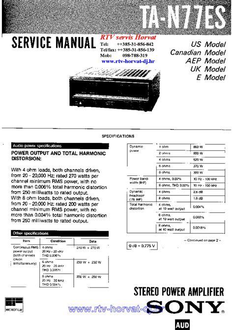 Sony Ta N 77 Es Original Service Manual