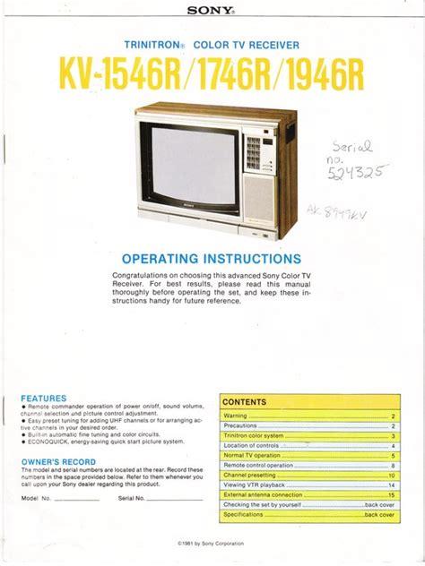 Sony Trinitron Tv Instruction Manual