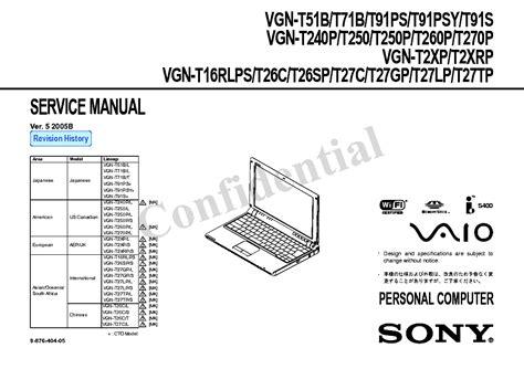Sony Vgn T16rlps Vgn T250 Vgn T250p Vgn T260p Service Manual