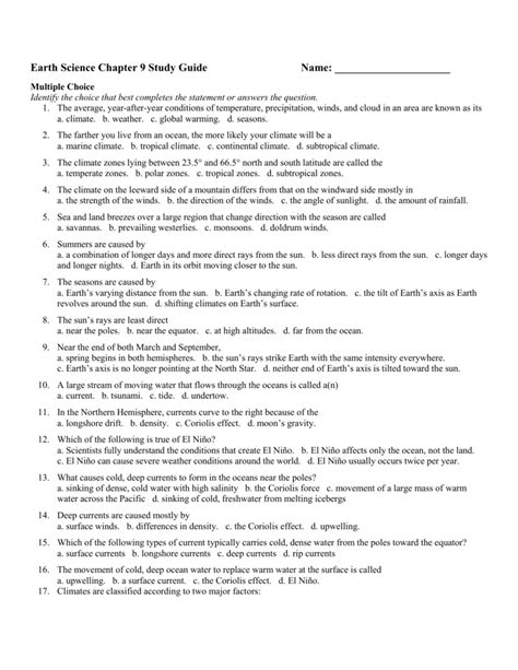 Space Earth Science Study Guide Answers