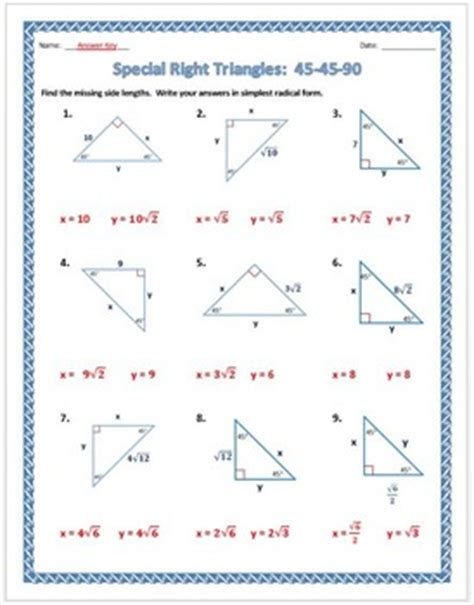 Special Right Triangles Worksheet 45 90 Answers