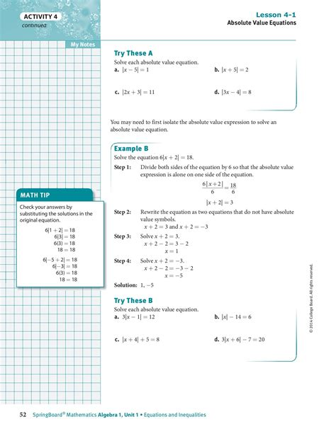 Springboard Algebra 1 Unit 3 Answer Key