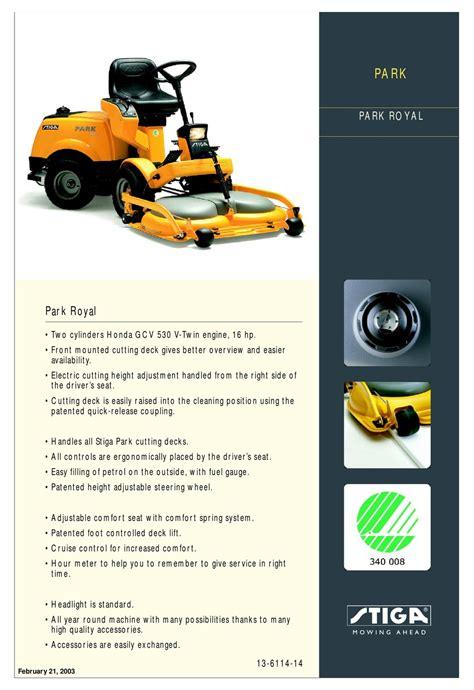 Stiga Park Royal Workshop Manual