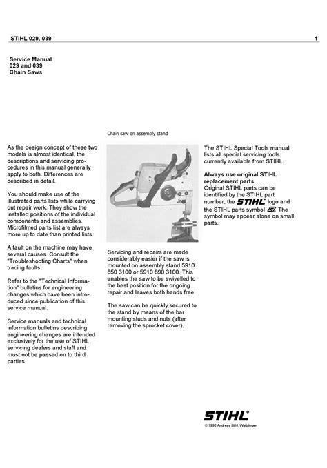 Stihl 029 Repair Manual