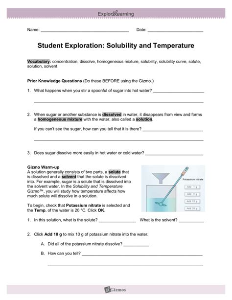 Student Exploration Guide Solubility And Temperature Answers