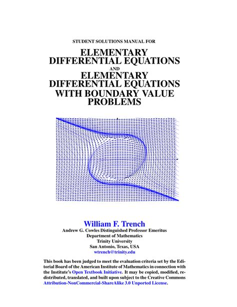 Student Solution Manual For Boundary Value Problems