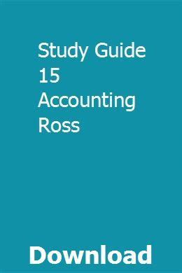 Study Guide 15 Accounting Ross