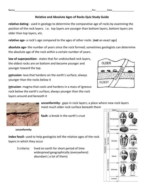 Study Guide Absolute Ages Of Rocks