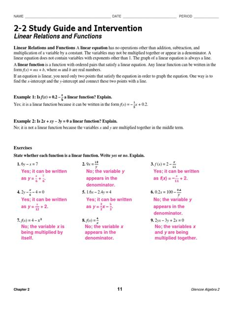 Study Guide And Intervention Relations Answer Key