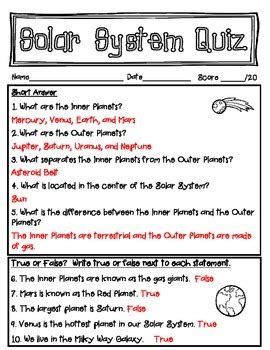 Study Guide Answer Key Our Solar System