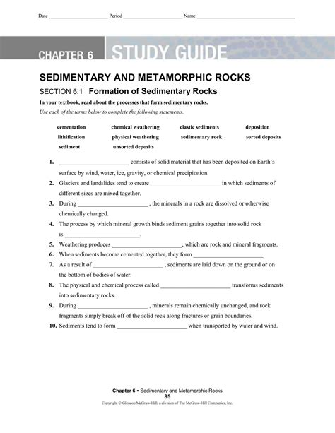 Study Guide Answers Sedimentary And Metamorphic Rocks