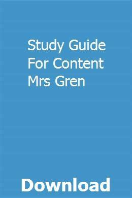 Study Guide For Content Mrs Gren