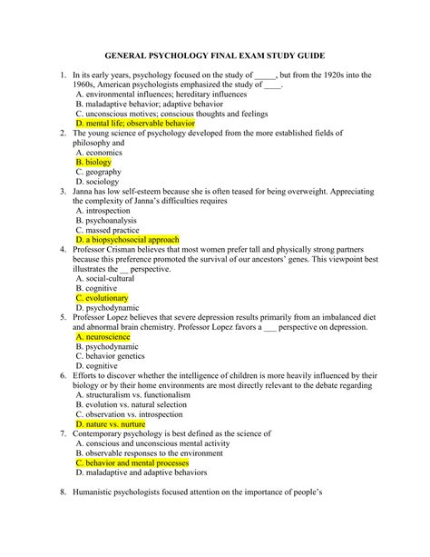 Study Guide For Psychology And Life