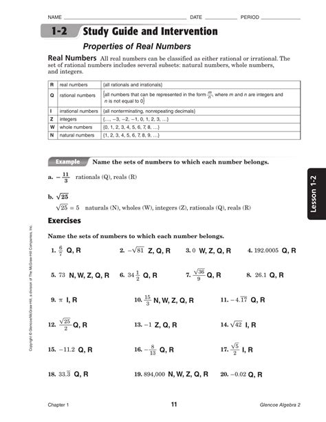 Study Guide Intervention Work Algebra 2 Answers