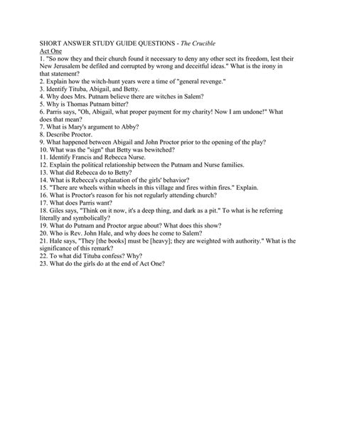 Study Guide Questions The Crucible Act 4