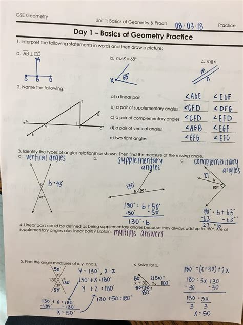 Study Guide Test Short Answer Geometry