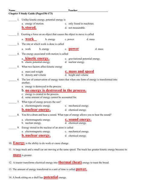 Study Guide Thermal Energy Answers