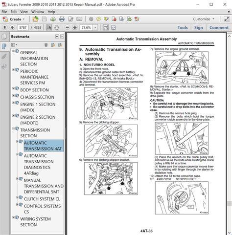 Subaru Forester Workshop Manual 2011