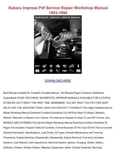 Subaru Impreza 1996 Service Repair Manual