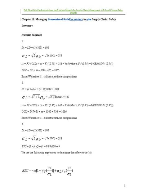 Supply Chain Management Chopra Meindl Solution Manual