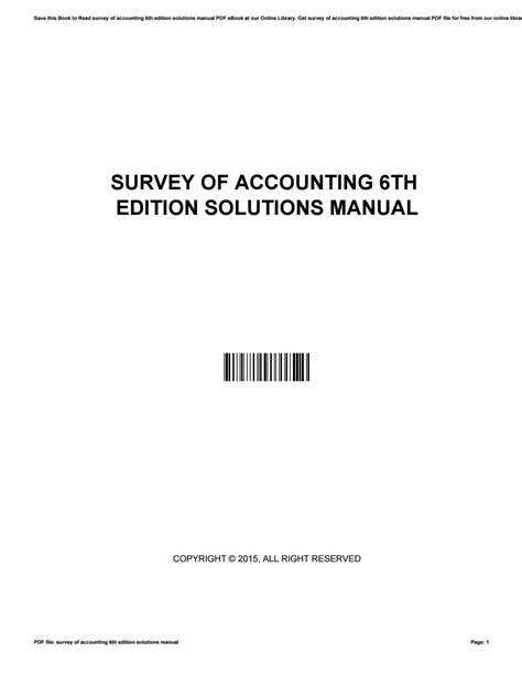 Survey Of Accounting 6th Edition Solution Manual