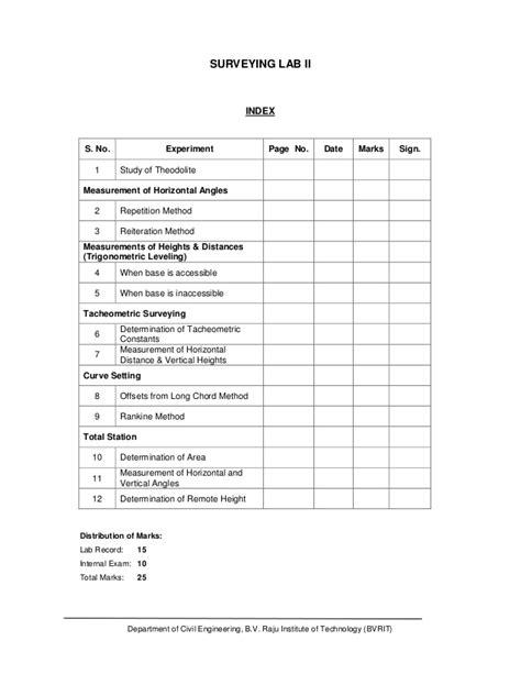 Survey Practical Lab Manual
