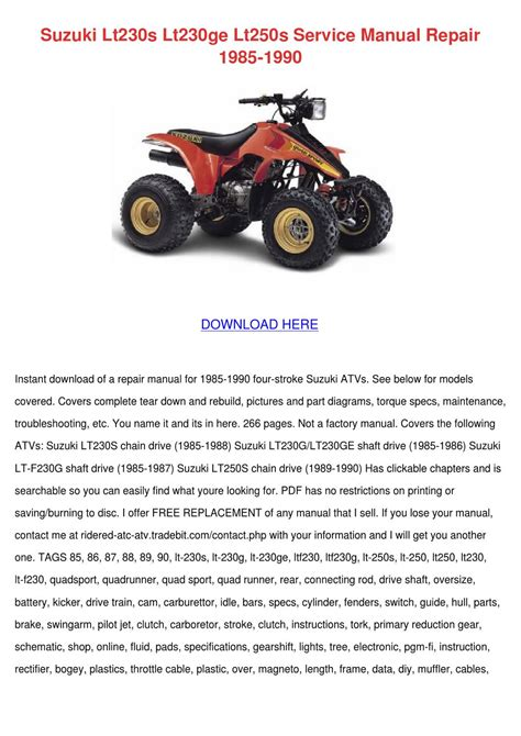Suzuki 230 Shaft Drive Repair Manual