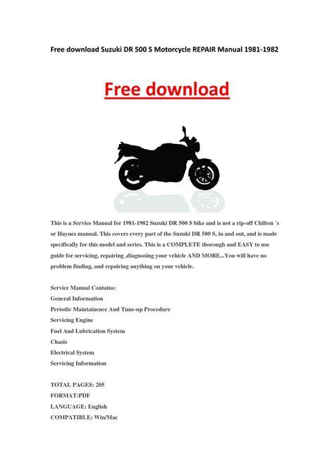 Suzuki Dr 500 Workshop Manual