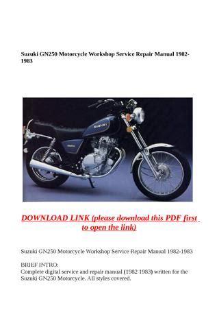 Suzuki Gn250 1982 1983 Repair Service Manual