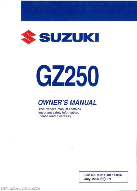 Suzuki Gz250 Owners Manual