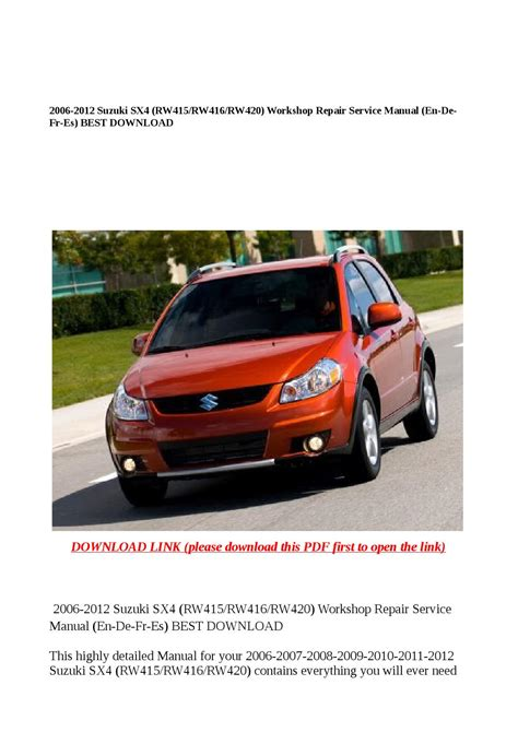Sx4 Owner Manual 2013