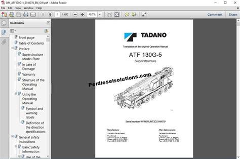 Tadano Crane Operators Manual